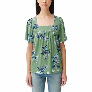Lucky Brand Women's Green Floral Square Neck Top